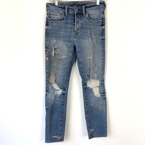 H&M High Waist Paint Splatter Skinny Coupe Jeans